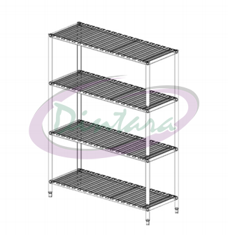 S/S 4 TIERS SLOTED RACK
